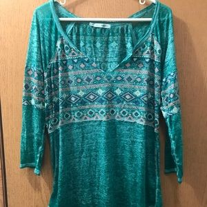 Teal Tribal Print Shirt with a v-neck
